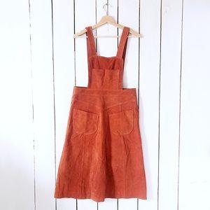 Free People Suede Leather Apron Midi Dress Orange